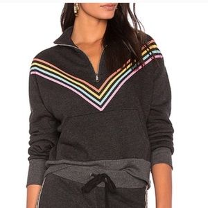 Wildfox rainbow sweater, 1/2 zip, pouch pocket L
